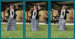 Hula instructor showing different moves