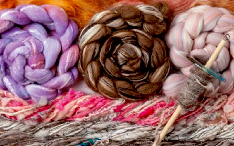 bundle of yarn and spindle