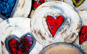 pottery dishes with hearts