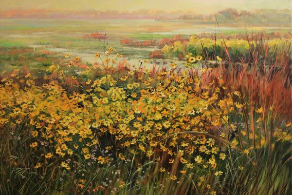 261_Natalia Andreeva-Swamp Sunflowers, Plein Air Lake Jackson $8000