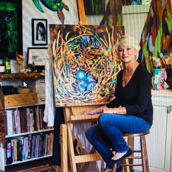 Artist Jill Bright in studio