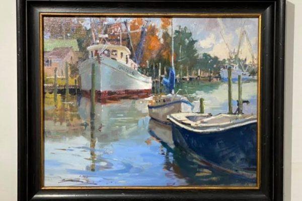 #4 Darien Boats 16x20 Oil $1,500